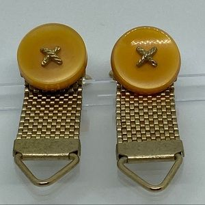 Other - Vintage Cufflinks Mesh Wrap Around Button Gold